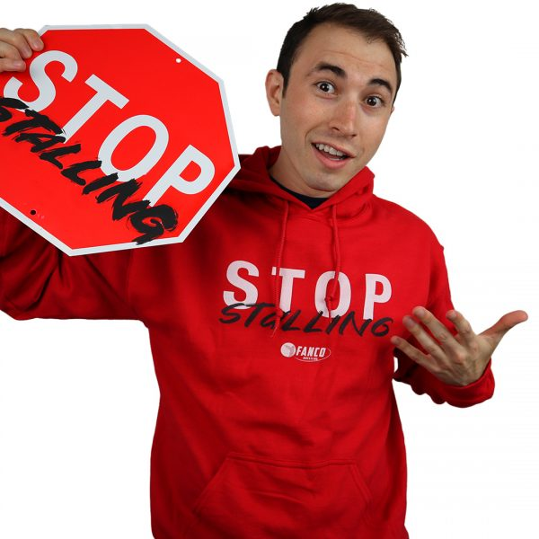 fanco wrestling stop stalling red sweatshirt, holding stop sign