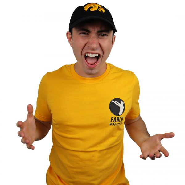 fanco wrestling college collection, yellow fight for it tee, iowa hawkeyes hat and shirt