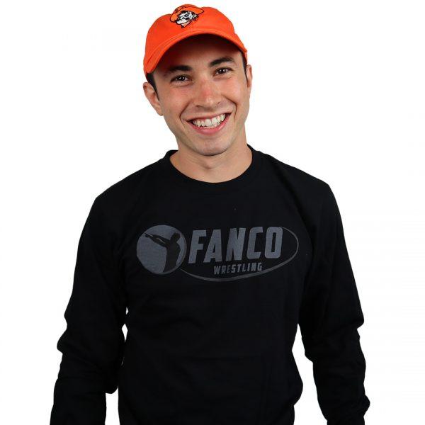 fanco wrestling black on black long sleeve t-shirt, oklahoma state hat