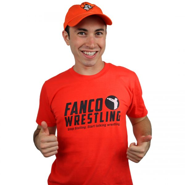 fanco wrestling college collection, fired up short sleeve t-shirt, orange oklahoma state hat