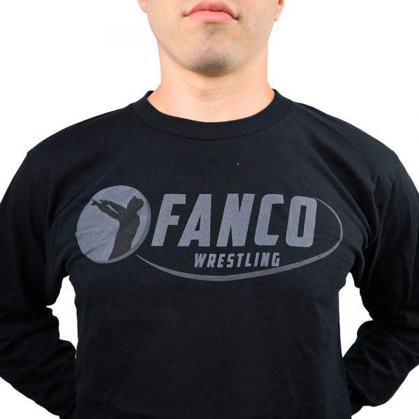 fanco wrestling black on black long sleeve t shirt logo