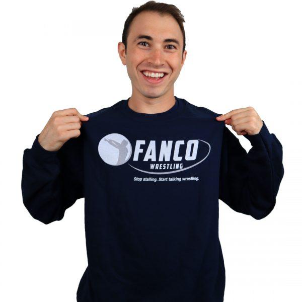 sweat it out blue fanco wrestling crewneck, sweatshirt for men