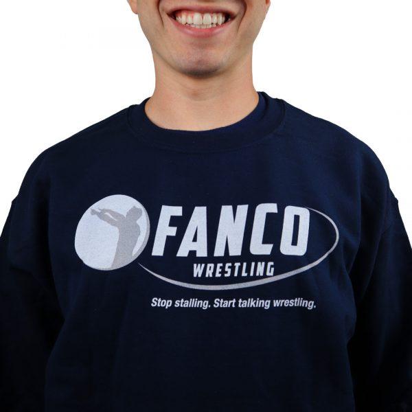 sweat it out fanco wrestling crewneck sweatshirt blue logo